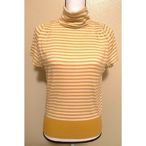 Pilcro and the Letterpress XS Gold & White Blouse